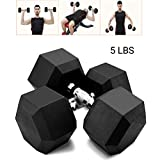 Tanlo Rubber Encased Hex Hand Dumbbell Weights Barbell Set Heavy Dumbbells for Home Fitness Club,...