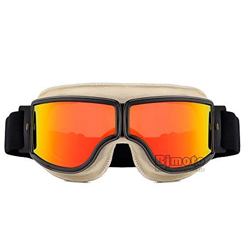 Mode classique PU Cuir Rétro Lunettes aviateur Lunettes casque de moto Eyewear extérieur Lunettes vintage pour Harley Style