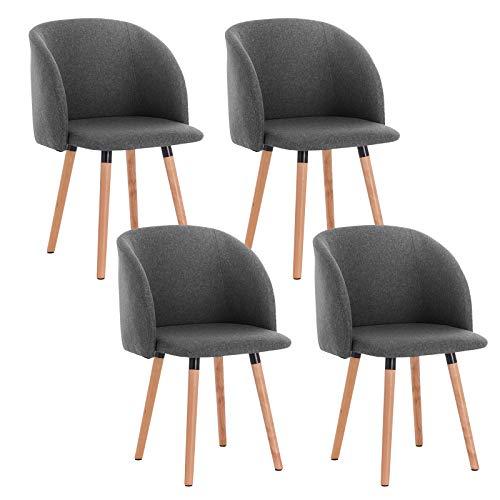 WOLTU 4X Sillas de Comedor Nordicas Estilo Vintage Dining Chairs Juego de 4 Sillas de Cocina Tulip Sillas Tapizadas en Lino Silla de Conferencia Silla de Escritorio Gris Oscuro BH120dgr-4