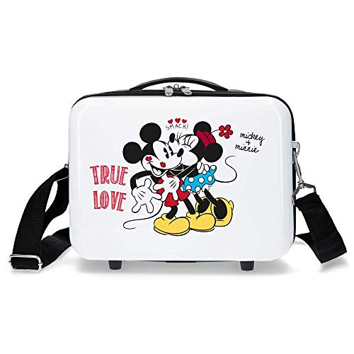 Disney Mickey True Love Nececer Adaptable Blanco 29x21x15 cms ABS