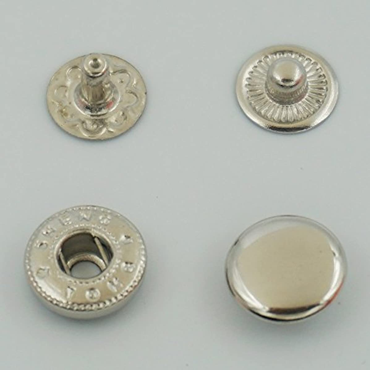 GBSTORE 50 Set Metal Snap Fastener Leather Rapid Rivet Button Sewing 10mm Silvery