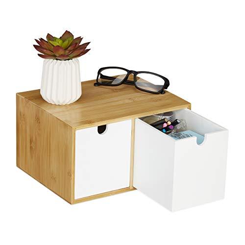 Relaxdays Schreibtisch Organizer, 2 Schubfächer, Bambus & MDF, Aufbewahrungsbox Büro, HxBxT: 14,5 x 24,5 x 20 cm, weiß, 1 Stück