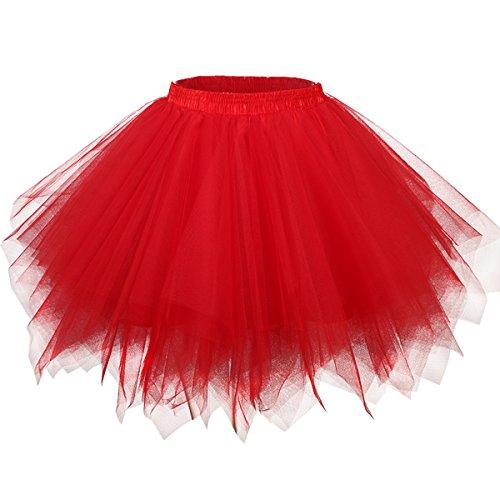 GirstunmBrand Damen 50er Vintage Tüllrock Petticoat Mehrfarbig Bubble Tanzkleid Rock Rot-S/M