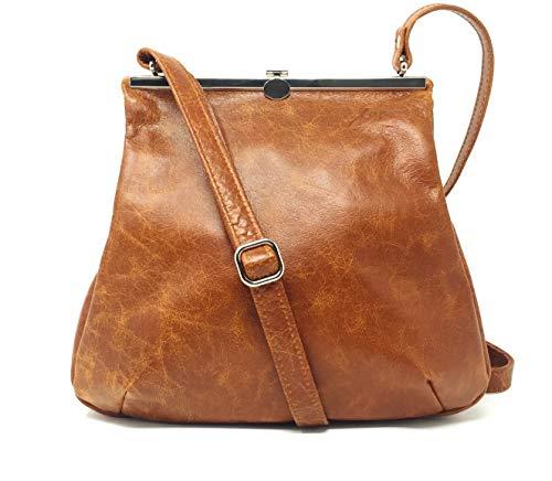 Umhängetasche braun Leder Handtasche cognac mit Klippverschluss Ledertasche Damen