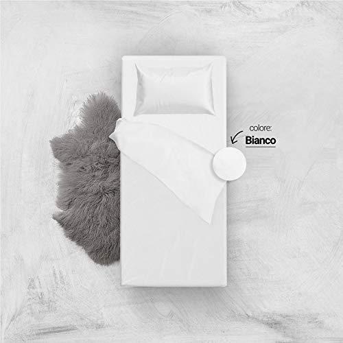 L'ANTICO ARCOLAIO Set Completo Letto Lenzuola 100% Cotone Tinta Unita (Bianco, Singolo 1P)