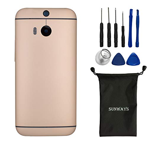 (Metallic Material) sunways Battery Case with Rear Camera Glass Lens +Volume Button Replacement for HTC One M8(Single Card Version)(Golden)