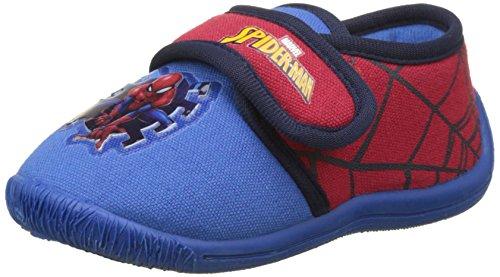 Spiderman Boys Kids Velcro Low Houseshoes, Chaussons Bas Garçons, Multicolore (C.Blue/H.Red/Blue), 33 EU