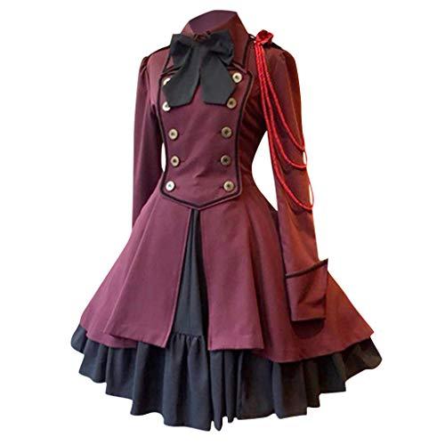 SETSAIL Damen Mode Vintage Kleid Gothic Palaststil Quadratischer Kragen Patchwork Prinzessin Kleid Europäische und amerikanische mittelalterliche Renaissance Bogen Langarm Rüschenkleid