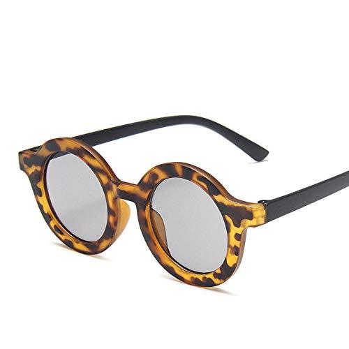 IRCATH Kinder Retro Runde Sonnenbrille Jungen Mädchen UV400 Brillen Mode Kinder Brillen Zubehör Geeignet zum Fahren am Golfstrand-Leopard