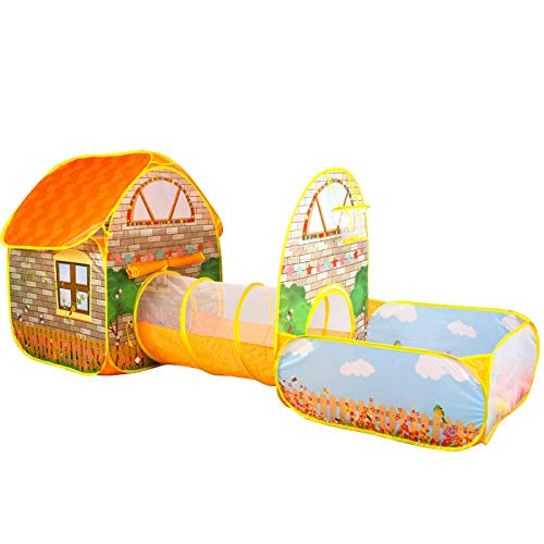 Ydq 3 in 1 Kids Shooting Play Tent with Tunnel   Baby Ball Pit   Playpen Toy   Target Goal Basketball Hoop   Den for Indoor Outdoor Garden for Children Camping Picnic Travel,B