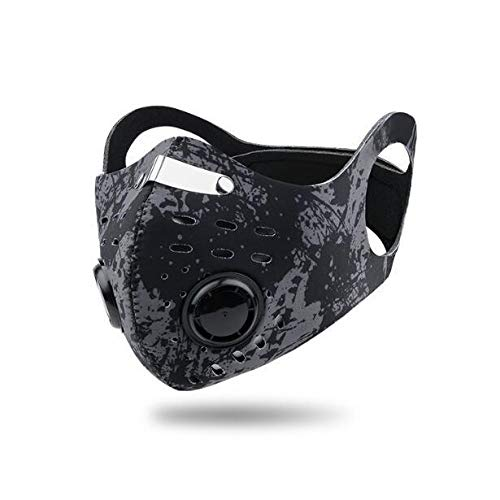 ROXX (Black Camo) Outdoor Cycling Neoprene Camo Mask with Changeable Filter, Unisex Anti Pollen Allergens PM2.5 Filters Dust Includes Filter and Bonus