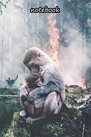 notebook: 6x9 cute dot grid journal | ape baby forest fire fear risk environment brand
