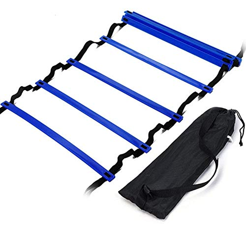H&H 12 Rung Agility Ladder, Adjustable Agility Training Ladder Speed Training Equipment with Carry Bag, Football Flexibility Training Jumping Ladder (Blue)