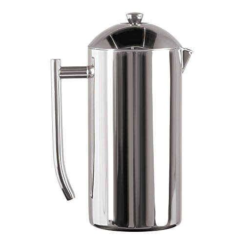 Frieling USA Double Wall Stainless Steel French Press Coffee Maker with Zero Sediment Dual Screen, Polished,44-Ounce