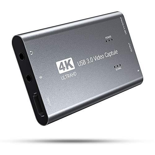 Tarjeta de Captura, USB 3.0 Captura de Video de Audio 4K 1080P 60FPS con Salida de Bucle HDMI, Adaptador HDMI a USB Captura de Juegos HD Monitor de grabación de transmisión para transmisiones en Vivo