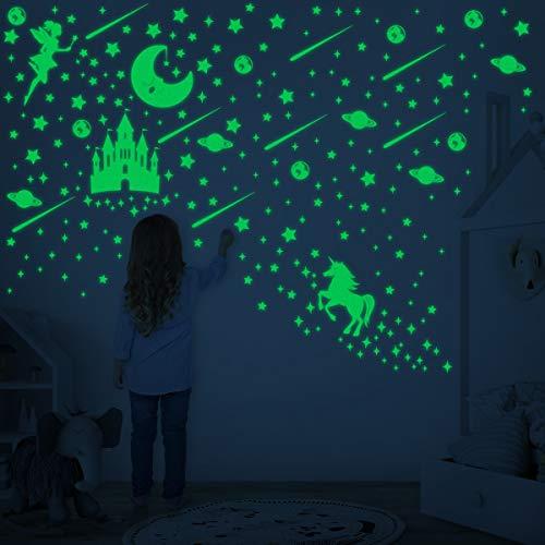 Toyvian 282pcs Leuchtsterne selbstklebend,wandsticker kinderzimmer,fluoreszierende sterne für deinen Sternenhimmel und fluoreszierend Leuchtaufkleber für Kinderzimme