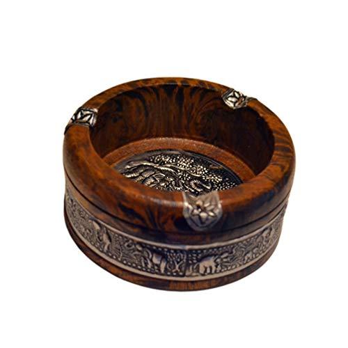 LIOOBO Vintage Holz Zigaretten Aschenbecher Rauch Aschenhalter Tisch Aschenbecher für Draußen Und Drinnen Aschenfänger