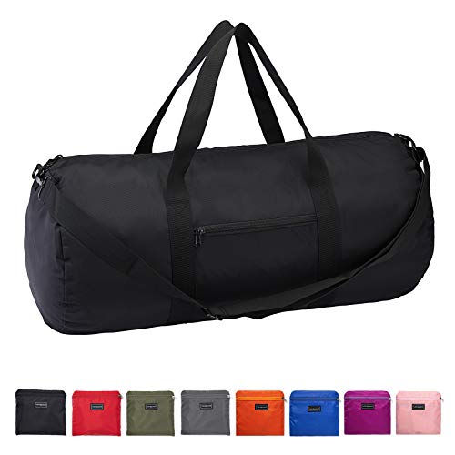 Vorspack Duffel Bag 28 Inches Foldable Lightweight Gym Bag with Inner Pocket for Travel Sports - Black