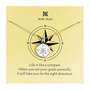 Graduation Compass Pendant Necklace – 925 Sterling Sliver direction necklace, Christmas Graduation Jewelry Birthday Gift for Women and Girls