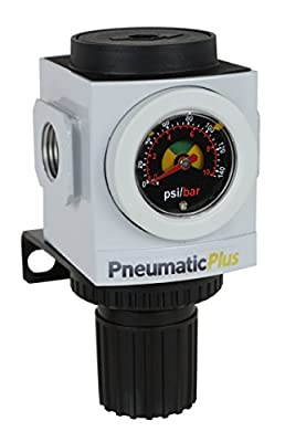 "PneumaticPlus PPR3-N02BG Compressed Air Pressure Regulator, 1/4"" NPT (High Flow), Embedded Gauge and Bracket by PneumaticPlus"