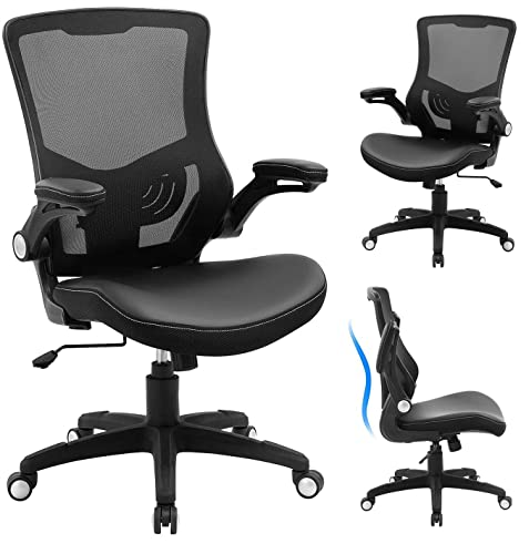 Office Chair Ergonomic Desk Chair - Leather Cushion Adjustable Height Swivel Mesh Midback Computer Chair with Lumbar Support and Flip-up Armrests Executive Task Chair, Black