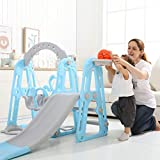 【UK Spot】Kids Toddler Slide And Swing Set - Children Swing Playset with Basketball
