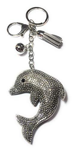 FizzyButton Gifts grijze dolfijn silhouet sleutelring handtas charm met strass en kwast