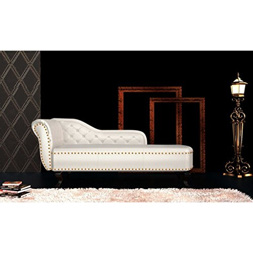 Lingjiushopping Chaise Longue à roulettes en Cuir Artificiel Blanc crème matériaux : Cuir Artificiel, Rembourrage en Mousse Dimensions : 168 x 58 x 77 cm (L x P x H)