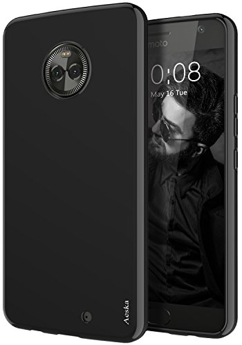 Moto X4 Case, Aeska Ultra [Slim Thin] Flexible TPU Soft Skin Silicone Protective Case Cover for Motorola Moto X4 (Black)