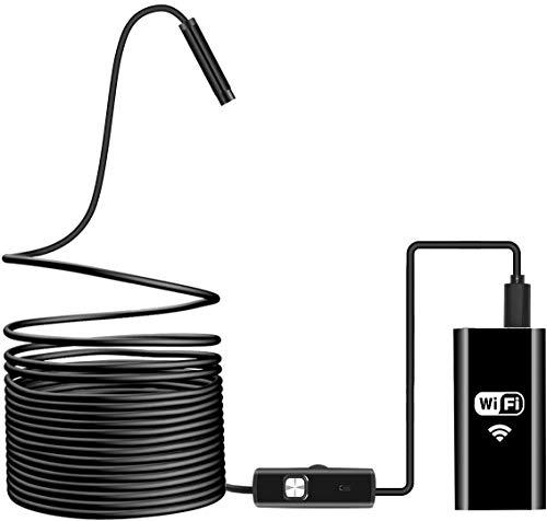 WiFi Endoscopio, Hydream Wireless Borescopio, 2.0 Megapixel HD 720P IP67 Impermeabile Telecamere di Ispezione con 8 Luci LED per Smartphone Android IOS, iPhone, Samsung, Mac, Tablet - 16.4ft (5M)