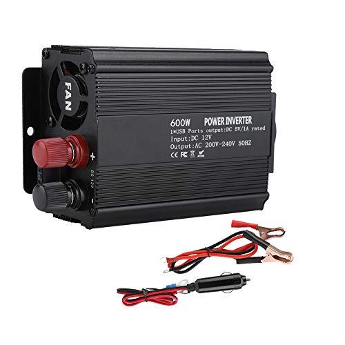 Inverter di Energia Solare, 12 V Convertitore 220V 600W Correzione di Alimentazione Sinusoidale Inverter USB Porta Inverter Intelligente Auto con Pannello Solare
