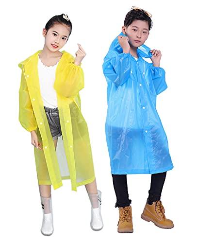 Gorain Pro Raincoat for Kids, [Pack of 2] EVA Kids Rain Coats Reusable Rain Poncho Jacket for Boys and Girls