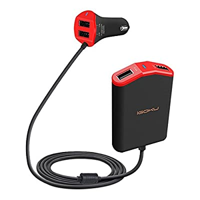 iGOKU Car Charge 48W 9.6A 4 USB Charging Ports, Designed for Front and Back Seat, Quick Charge, Smart Identification for iPhone, iPad, Galaxy, Note, Nexus, HTC & More