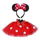 GuanRen Baby Girls Minnie Tutu Falda Outfit Kids Fluffy Dance Tutus con la Diadema del ratón Tostador de la niña Niña Año Nuevo para la Fiesta de cumpleaños (Color : Red Set, Size : 13T)