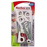 fischer - Hembrilla Cerrada EasyHook DuoPower 6x30, tacos para pared, tacos y tornillos, ganchos para colgar, colgar lámparas, Pack de 6 uds.