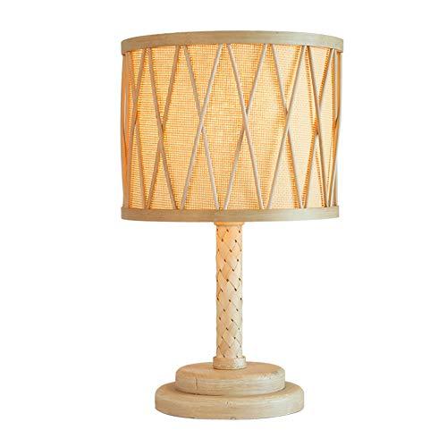 MJBOY bureaulamp creatieve eenvoudige landelijke bamboe handgemaakte rotan houten tafellamp E27 met knoopschakelaar leren kantoor slaapkamer 's nachts leeslamp