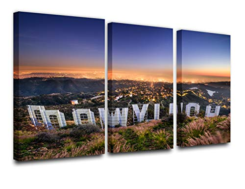 TUMOVO Wall Art Painting Hollywood Sign in Mountain Prints On Canvas The Picture City Pictures Oil for Home Modern Decoration Print Decor for Furniture (24'' x 12'' x 3 Panels)