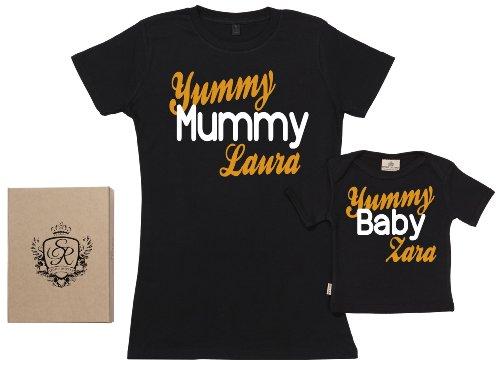 Spoilt Rotten Spoilt Rotten SR - Exklusive Geschenkbox - Custom Yummy Mummy & Baby - Vater Baby Geschenkset, Schwarz, S & 0-6 Monate - Schwarz