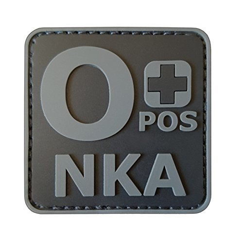 2AFTER1 ACU Subdued OPOS O+ NKA Blood Type No Known Allergies Morale PVC Rubber Touch Fastener Patch