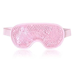 NEWGO®Eye Mask Cooling Reusable Hot Cold Compress Gel Beads Eye Mask for Puffy Eyes, Dark Circles, Migraine, Headache, Stress Relief, Sinus Pain - Pink by Newgo