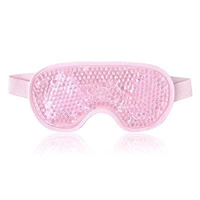 Cooling Eye Mask for Hot or Cold Therapy Reusable Eye Mask with Gel Beads,Cold Eye Mask Ice Pack Eye Compress with Straps (Pink)