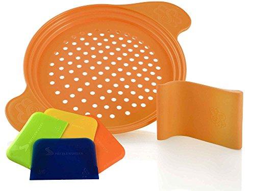 Spätzlereibe mit Spezialschaber für lange und kurze Spätzle und 4 Teigkarten, orange