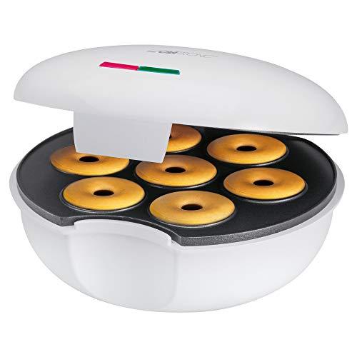 Clatronic DM 3495 Máquina para Hacer Donuts o Rosquillas, Placa Ant, 900 W, Plástico, Blanco