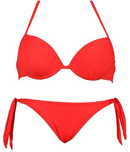 Bikinicolors Bikini Super Push Up con braguita o brasileña con lazos, fabricado en Italia rojo Medium