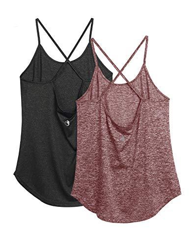 icyzone Damen Sport Shirt Yoga Rückenfrei Träger Top Gym Fitness Oberteile 2er Pack Tanktop (S, Schwarz/Burgundy)