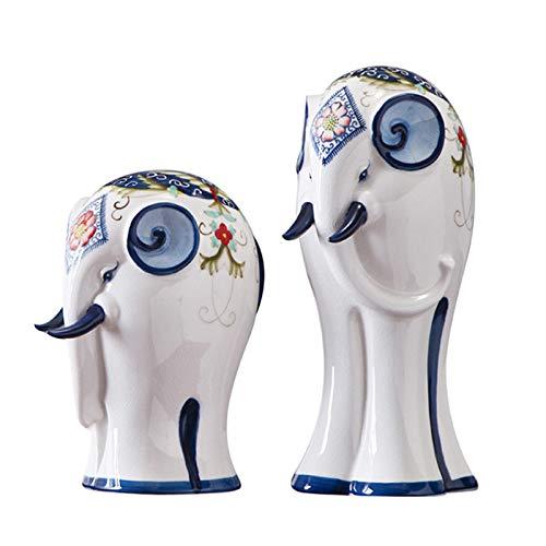 DW007 1 Pares de estatuillas de cerámica Estatua del Elefante Decoración de Escritorio Decoración de cerámica Decoración de Animales Conjunto de Animales Adornos de artesanía Decoración del hogar