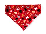 Valentines Red Flannel Cat Dog Bandana Multi Color Paw Prints Slip Over the Collar No Tie Petwear Neckwear
