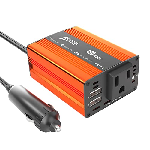 Ampeak 150Watts Car Power Inverter 12V DC to 110V AC Inverters with Dual USB Charging Ports AC Outlets