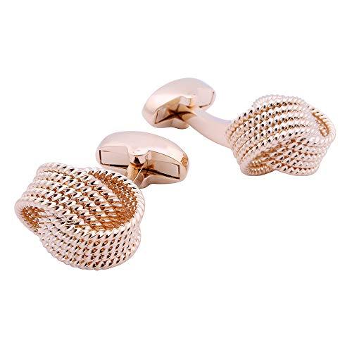 CHQSMZ Cufflinks for Men Classic Metal Cufflinks Knot Design 6 Colors Option Men\'s Twist Cufflinks Wedding Gift Rose Gold Color