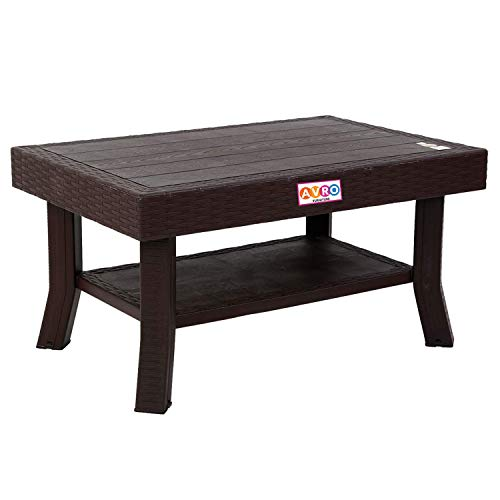 AVRO FURNITURE Viva Double Top Centre Table | | Wooden Texture on Top | Multi-Use Shelf | Tested with 200 kg Weight | Anti-Skid Locked Shoe| | for Kitchen, Dining Room, Living Room | Brown Colour